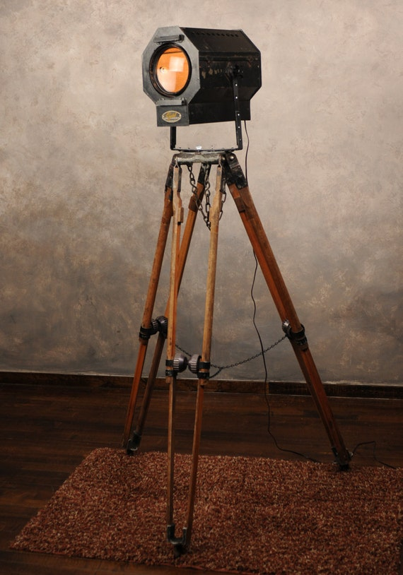 Industrial Floor Lamp From Vintage Theater Light And Tripod
