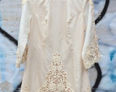 vintage 60s / 70s dress / cream embroidered shift dress / Yesterday Once More Dress