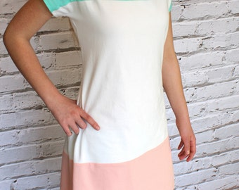 Color Block Mint Green, Off white, and Coral Peach Knit A line Dress for Women by GreenStyle