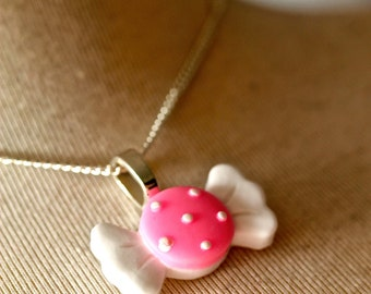 White & Pink Candy Sweet Pendant By MillyPops - Kawaii, Kitsch, Fairy Kei, Princess, Harajuku
