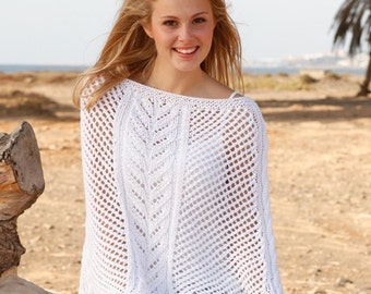 Knit Beach Cover Up Pattern : Knit Poncho, Lace Poncho, Lace Cover Up, Beach Cover Up Sizes S to XXXL