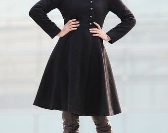 Black Coat Big Sweep High Collar Women Wool Winter Coat Long Jacket-C220