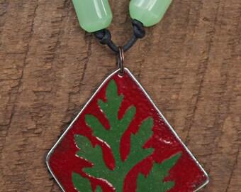 enamel pendant / necklace - leaf design - reclaimed stainless steel & enamel