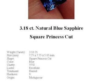 Synthetic Sapphire - Drop Dead Gorgeous 3.18 Carat Blue Square Princess Cut Synthetic Sapphire...