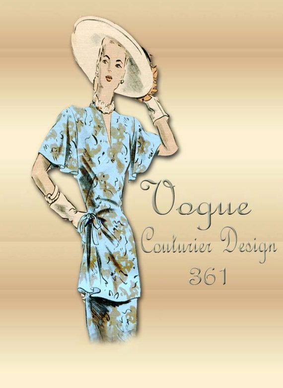 1940s Dress Pattern Vogue Couturier Design 361 Sewing Pattern for a Two Piece Dress with Tunic Top Rare Pattern