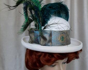 Steampunk Hat Ladies' Upcycled Cream Felt