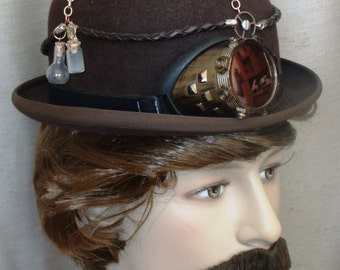 Steampunk Hat Men's Upcycled Brown Bowler