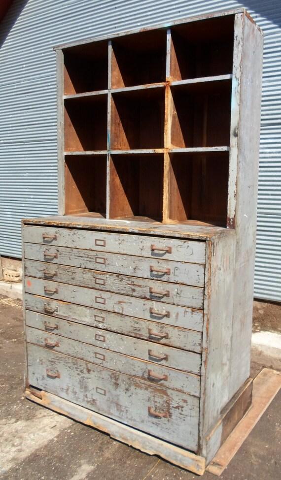 Vintage Farm Fresh Industrial Hardware Store Cabinet