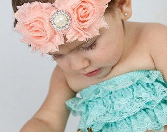 Peach Baby Headband, Infant Headband, Newborn Headband, Light Peach Headband - Shabby Chic Headband, Easter Headband