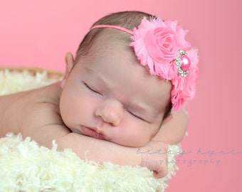 Medium Pink Baby Headband, Infant Headband, Newborn Headband, Toddler Headband, Shabby Chic Headband Pink Rosettes with Pink Pearl