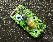 Flash Sale 20 dollars off Massive beetle and flies in neon green slim Halloween decoden themed with dark iced glitter.