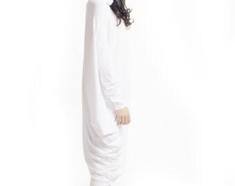Oversize White Loose Hooded Top / Asymmetric Raglan Long Sleeves Tunic  / Maxi Blouse A02042