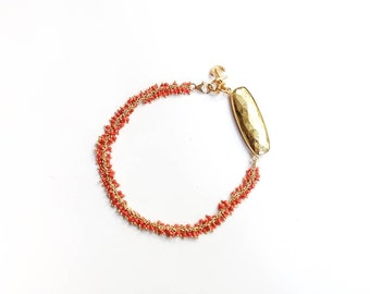 Coral Ankle Bracelet, Anklet, Anchor Jewelry, Anchor Charm, Gold Anklet, Ankle Bracelet, Gold Jewelry, Gemstone Jewelry, Coral