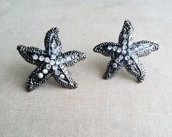 Beach Wedding Earrings - SALE- beach wedding jewelry, Starfish earring, Rhinestone stud post crystal sea star accessories accessory GUNMETAL