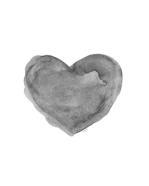 Black and White Art Print, 5x7 Watercolor Heart Art,  Charcoal Grey Print, Gender Neutral Art, Gray Nursery Art, Gray Nursery Decor