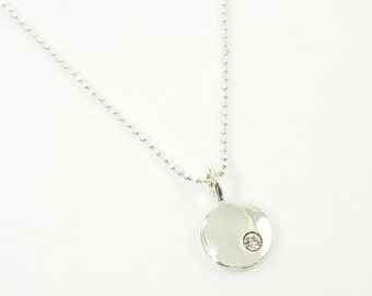 April Birthstone Necklace - Sterling Silver Diamond Charm with Sterling Silver Chain 16 18 20 22 Inches |NS4