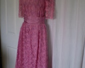 LACEY LADY... VINTAGE Rose Pink Dress WIth Bow 1960s