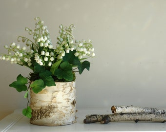 lily of the valley birch bark vases arrangement home decor wedding centerpieces party favors for bridal shower thank you Mother's day gifts