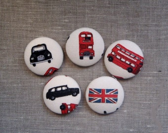 London Taxi Bus UK Fabric Covered Buttons x 5