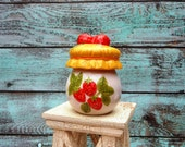 Hand Painted Strawberry Jam Jar Country Kitchen Decor Jelly Jar Pot Ceramic Yellow Red Green