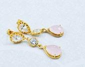 Pink Gold CZ Crystal Drop...