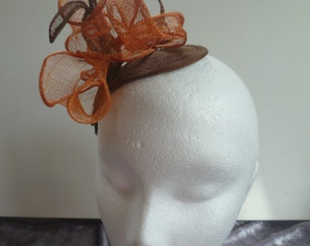 Brown and Orange Fascinator
