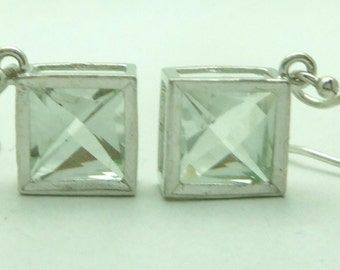 2.85 Carat Prasiolite (Green Amethyst) Gemstone Bezeled Dangle Earrings Sterling Silver Hand Cut Gem