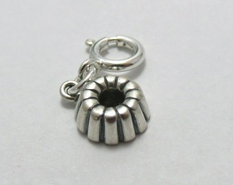 Sterling Silver Bundt Cake Pan Charm-Fits European and Traditional Charm Bracelets - 2917