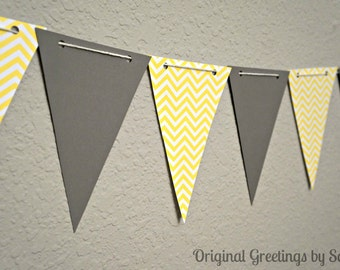 Yellow Chevron and Gray banner/bunting/flags