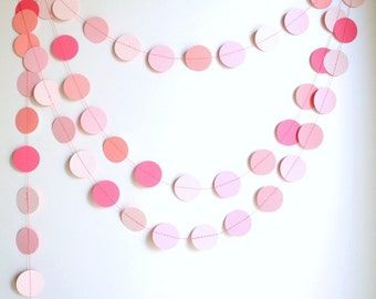 Pink circles paper garland, pink baby shower decor, nursery decor, girl birthday party garland