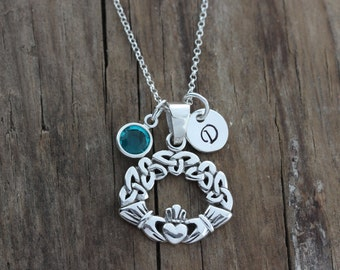 Gorgeous Claddagh Necklace, With Trinity design, Triquetra Knot necklace, Love, friendship symbol, Personalized jewelry, Irish jewelry, 678