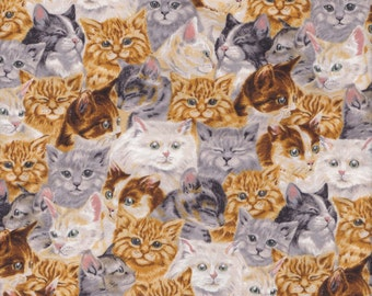 The Cats Meow - Cat Fabric Beige Gold Realistic Cats by Robert Kaufman FQ