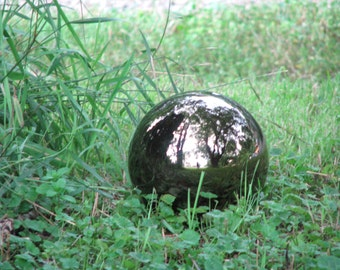 Ceramic Gazing Mirror Ball -8 inches round - hand painted, indoor or outdoor, lawn or garden