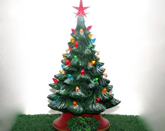Small Ceramic Christmas Tree - 10 inches with base-hand made Pine tree with light kit
