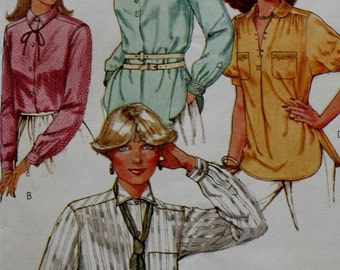 1970s Button Front Blouse /McCall's 6409 /Vintage Sewing Pattern/ Size 10 Bust 32.5