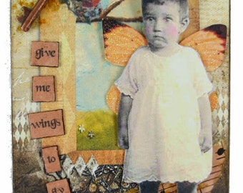 Aceo Card, Fairy Aceo Card , Artist Trading Card, Whimsical Assemblage Art, Give me wings to Fly