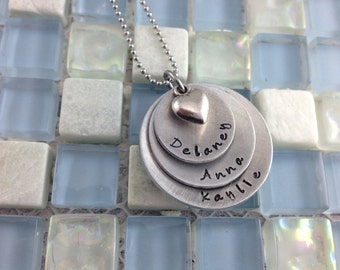Triple Stack disc hand stamped, personalized keepsake necklace for Mommy or Grandma - 3 kids