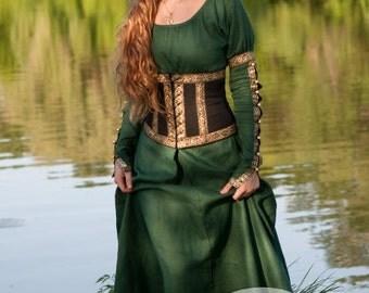 "Medieval Dress with Corset Belt ""Forest Princess"""