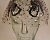 Vintage Black Polka Dot Veil and Headpiece