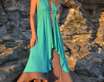 TOTEM DRESS TURQUOISE, Layering, Prairie Dress, Tattered, Slip Dress, Halter, Maxi Dress Versatile