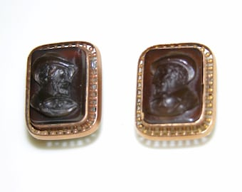 VICTORIAN 1800s Antique 10K Rose Gold & Carnelian Intaglio Cameo Cab Stone NEOCLASSICAL Swivel CUFFLINKS..Edwardian Cuff Links