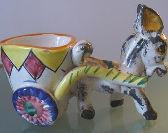 Vintage Made in Italy Ceramic Donkey And Cart