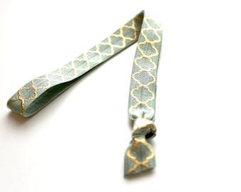 1 Sage Green Gold Quatrefoil Handmade Elastic Headband