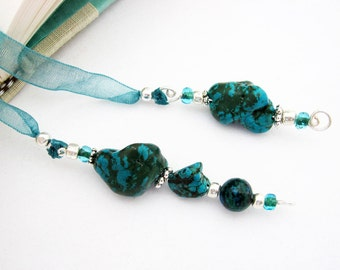 Ribbon Bookmark, Turquoise, Semi Precious Stones, Australian Jade, Teal Ribbon, Silver, Wire Wrapped Dangles, Teachers, Book Lovers Gift