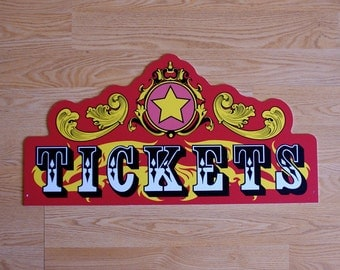 Die Cut Circus Style Ticket Sign