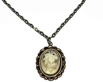 Cameo flower pendant necklace vintage style boho necklace