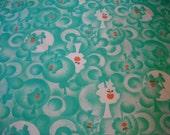 FABRIC SALE! 2 1/2 Yards Apple Tree Silhouette Print Nylon Blend Fabric Mod Op Art Teal Mint Green