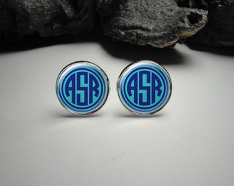 Personalized  Monogram Cuff Links 20mm/Personalized Silver Cufflinks for Him/Men Gift