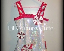 Katy Perry Inspired Peppermint Dress / Glitz Pageant Wear / Holiday Casual Wear / OOC Outfit of Choice / Christmas / Candy Cane