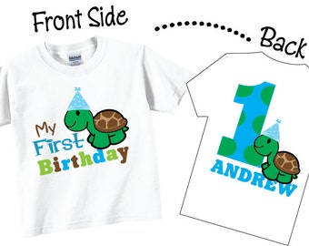 1st Birthday Shirts For Boys with Cute Turtle Tees